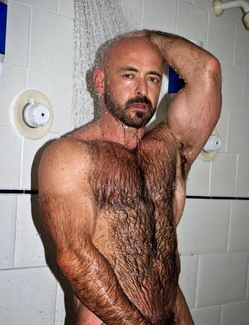 Naked hairy men showering