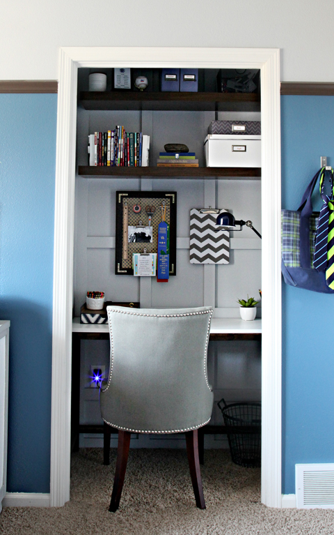 Desk Built Into Closet iheart organizing: closet office makeover - mission accomplished!