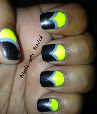 Neon Grey Chevron Nails