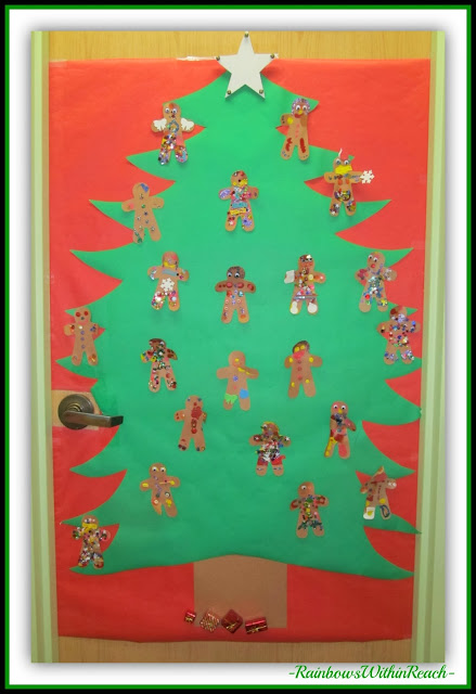 Preschool Christmas Door Decoration via RainbowsWithinReach