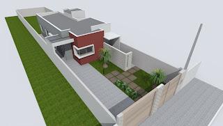 Casa 70m2, modelada com skethup e renrizada com artlantis
