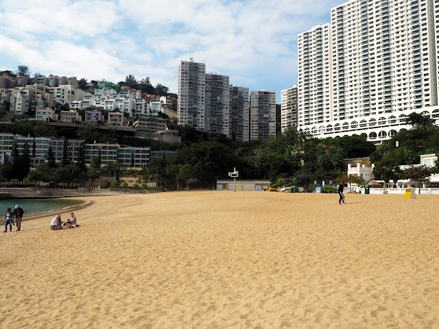 Sandy beach and the surrounding buildings at Repulse Bay Beach, Hong Kong