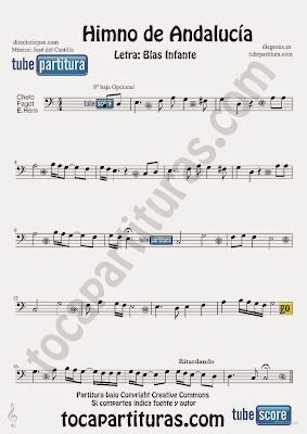 Tubescore Andalussian Anthem Sheet Music for Cello and Bassoon Music Score Himno de Andalucia