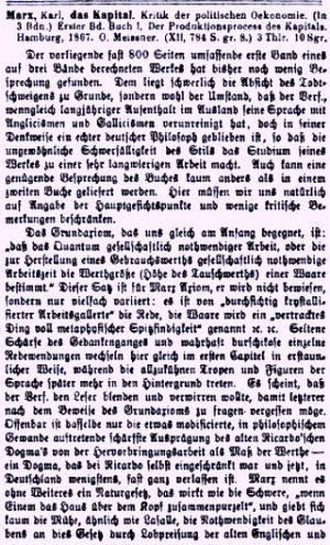 Facsímil de la primera reseña de El Capital de Karl Marx — Julio, 1868