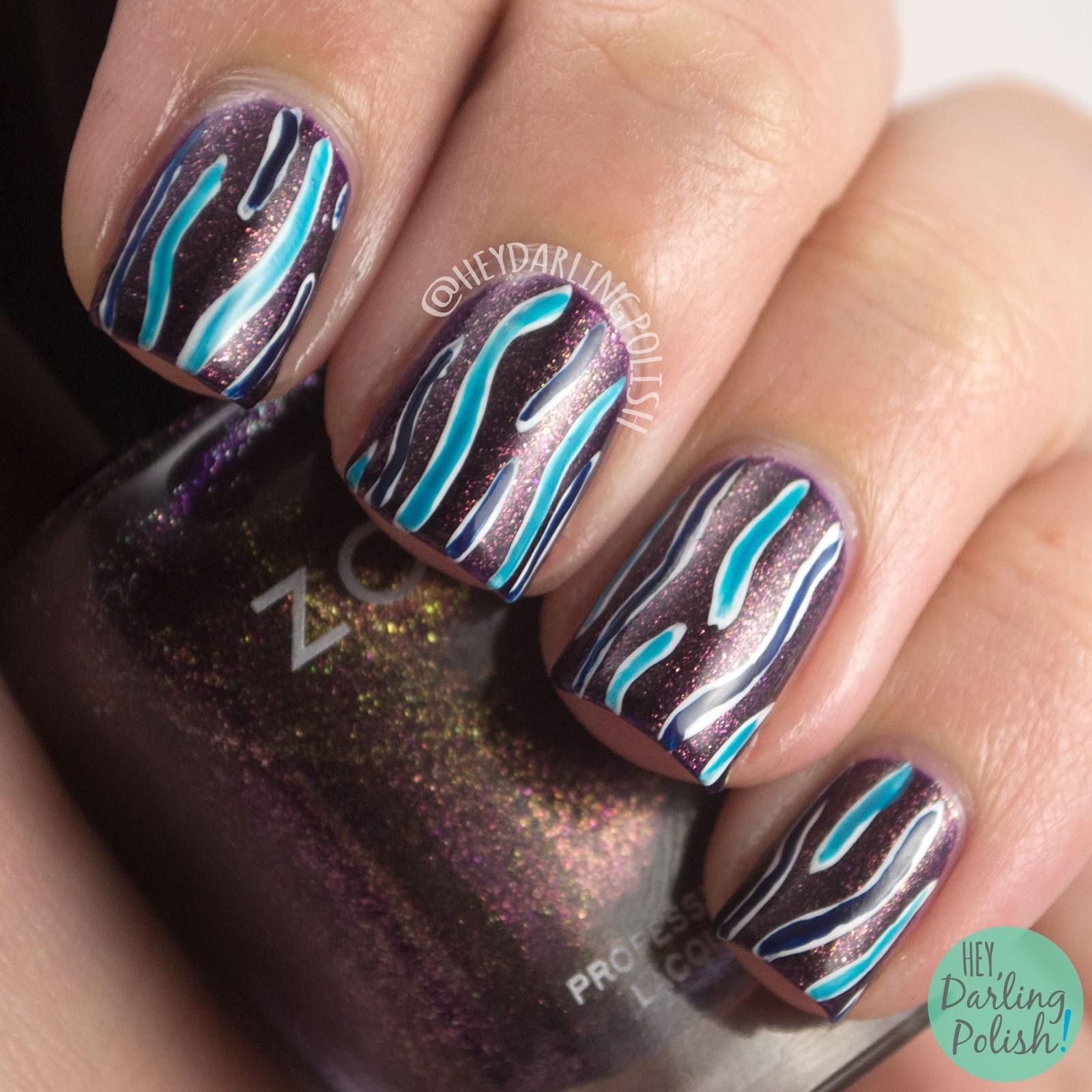 nails, nail art, nail polish, hey darling polish, stripes, purple, blue, wavy lines, the nail challenge collaborative