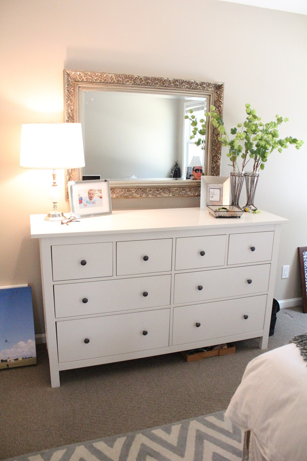 Ten june our rental house a master bedroom tour for Dresser ideas for small bedroom