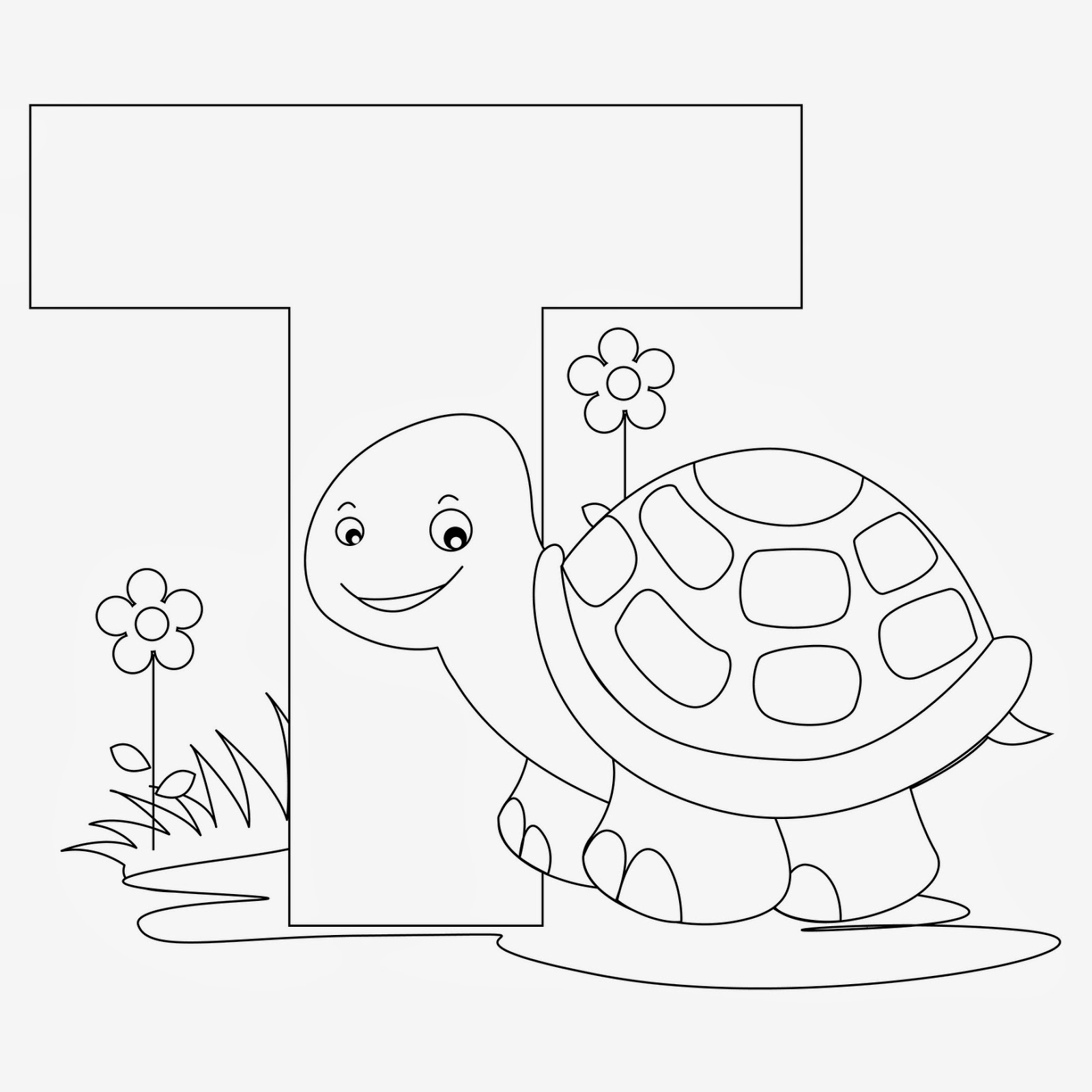 printable Alphabet Coloring Pages Turtle