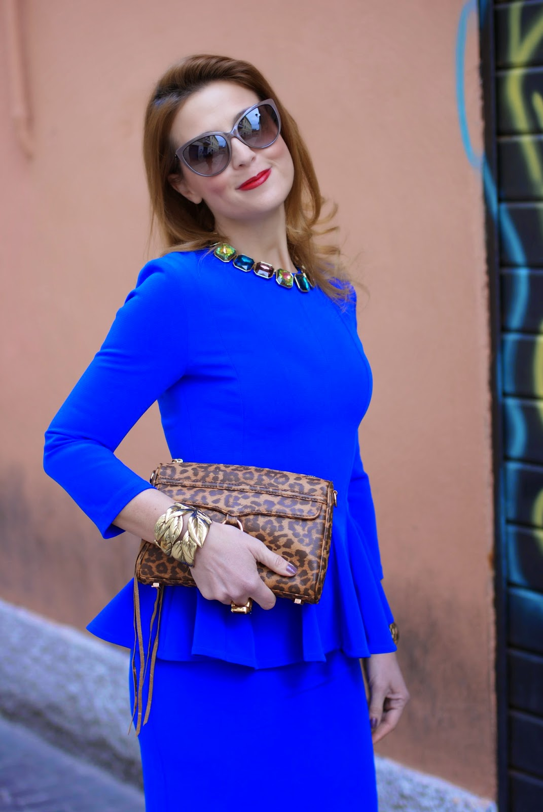 Isabel Garcia peplum dress with midi skirt, Rebecca Minkoff mini MAC clutch in leopard, Fashion and Cookies fashion blog, fashion blogger