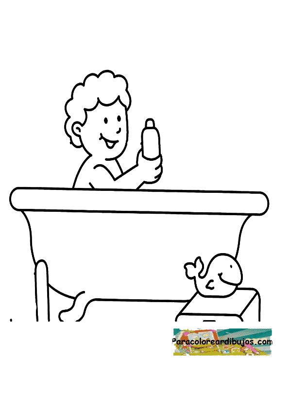 Niño bañandose para colorear