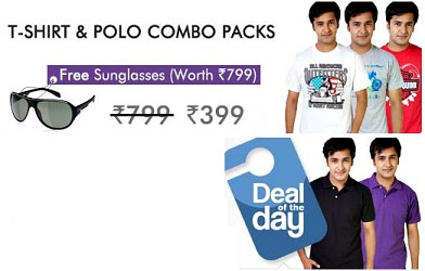 Buy T-Shirts & Polo Combo for Rs.399 with Sunglasses worth Rs.799 for FREE