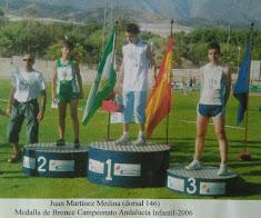 JUAN MARTINEZ MEDINA, MEDALLA DE BRONCE 100 M.V. CAMPTO. DE ANDALUCIA