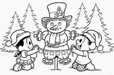 desenho chico bento e rosinha tema de natal