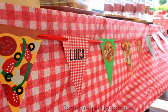 bunting flags at kids pizza party personalised with name and age party decoration diy