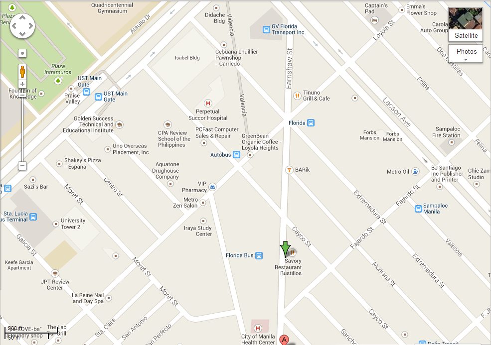 Map to Toto's Eatery Earnshaw Branch