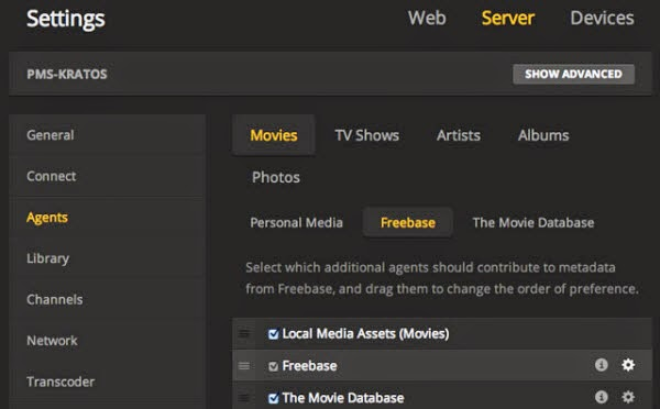 plex settings freebase agent