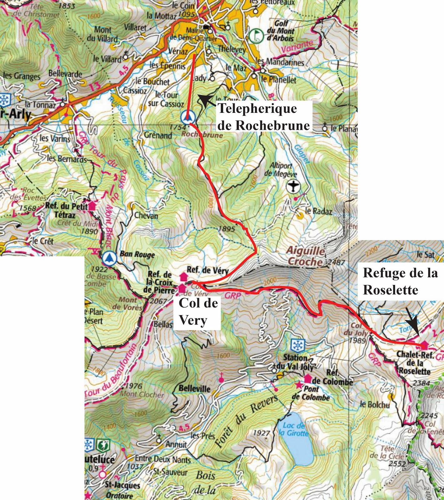 day 1 megeve to refuge de la roselette the route is indicated in red click on the map to enlarge