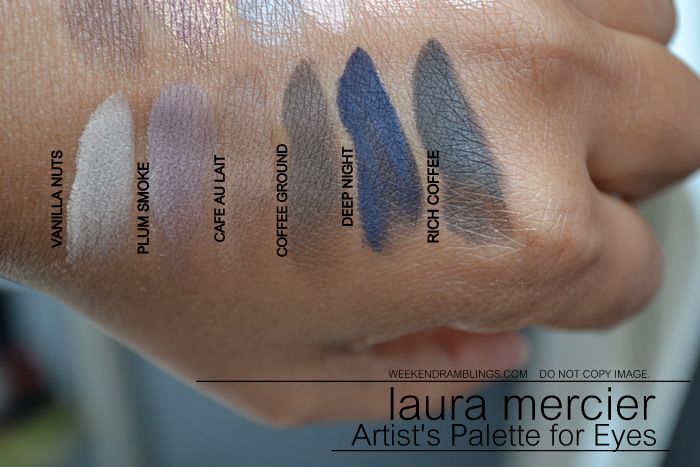 laura mercier artist palette for eyes eyeshadows Chocolate African Violet Sable Guava Cameo Sunlit Vanilla Nuts Plum Smoke Café au Lait Rich Coffee Ground Deep Night indian makeup beauty blog darker skin swatches