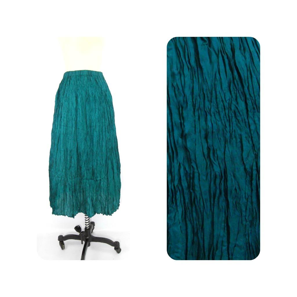 teal maxi skirt crinkle foxburrow vintage