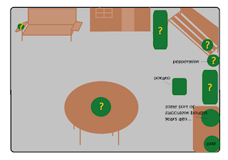 Pot green pot locations laid out among brown porch furniture.  Yellow question marks on areas that are undecided, and labels over areas that are already taken.  A brown house looking thing stands at top center, blocking much light.