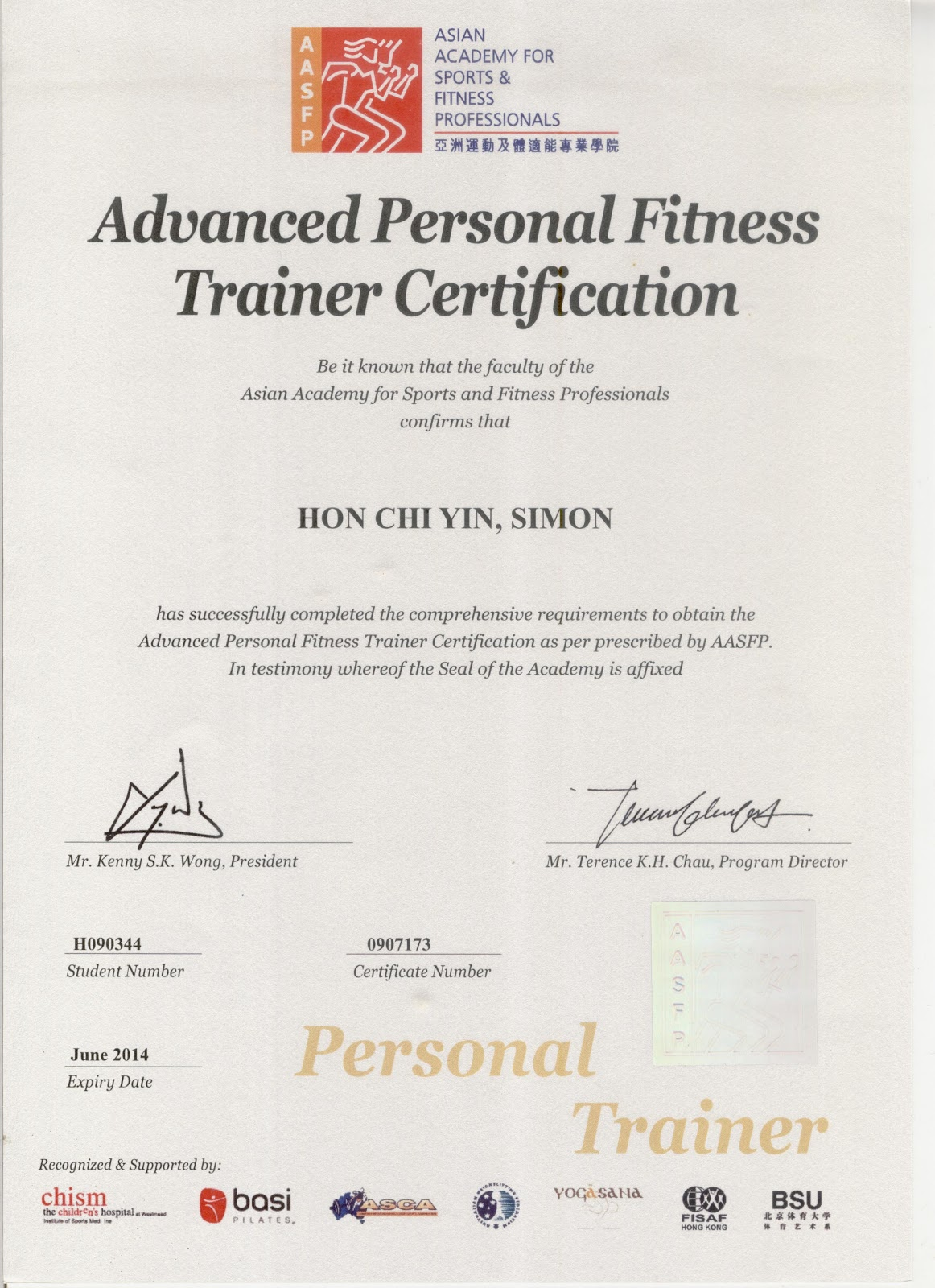 Simon Hon Personal Fitness Trainer In Hong Kong
