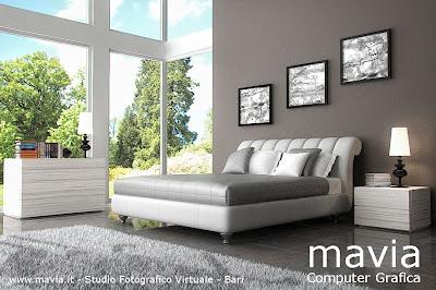 Arredamento di interni camere da letto letto matrimoniale moderno imbottito in pelle - Letto matrimoniale in pelle bianca ...
