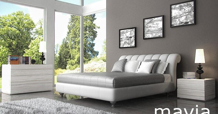 Arredamento di interni camere da letto letto matrimoniale moderno imbottito in pelle - Arredamento di interni ...
