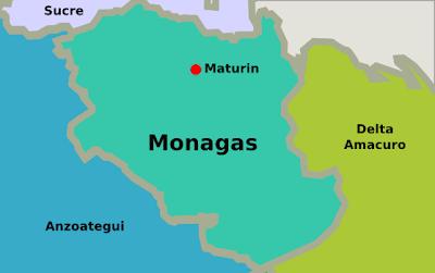Mapa del estado Monagas Venezuela