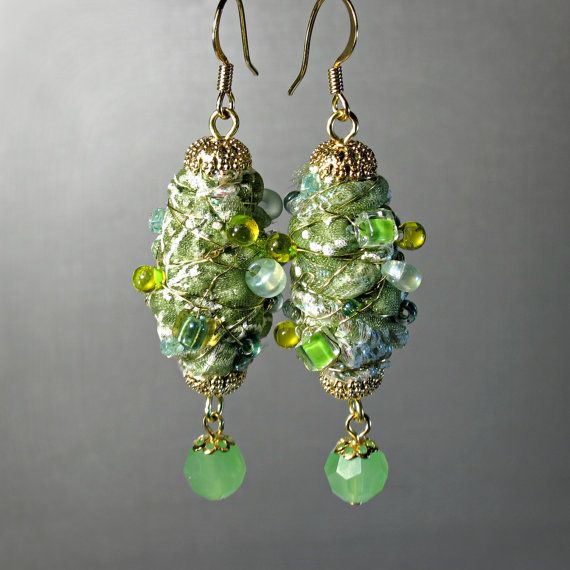 fabric bead dangle earrings