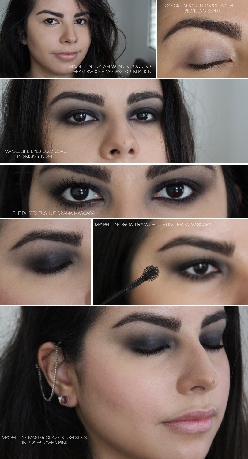 fall smokey eye dark makeup look easy drugstore maybelline tutorial falsies push up mascara