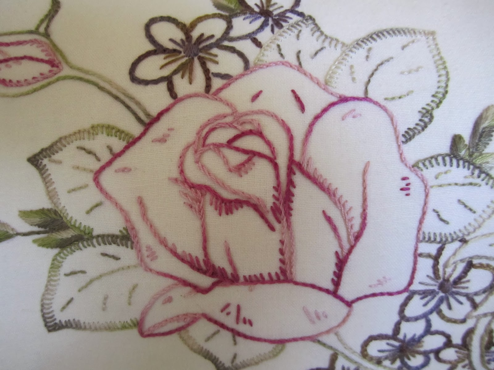 Ribbon work bed sheets designs - I Chose To Stitch The Roses Dahlia And Bird Wattle Blossom In Stem Stitch And The Rose Leaves Ash Outlined In A Small Blanket Stitch With Vein Detail