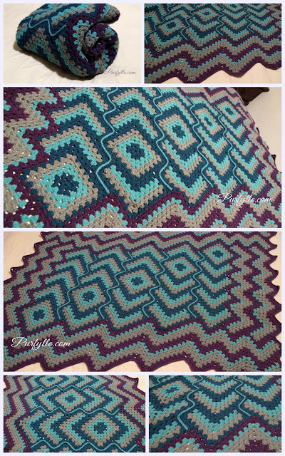 'Drops in the frog pond' large crochet rug