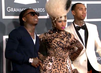 Imagen de Lil Wayne, Nicki Minaj y Tyga en la alfombra roja de los Grammy Awards 2011