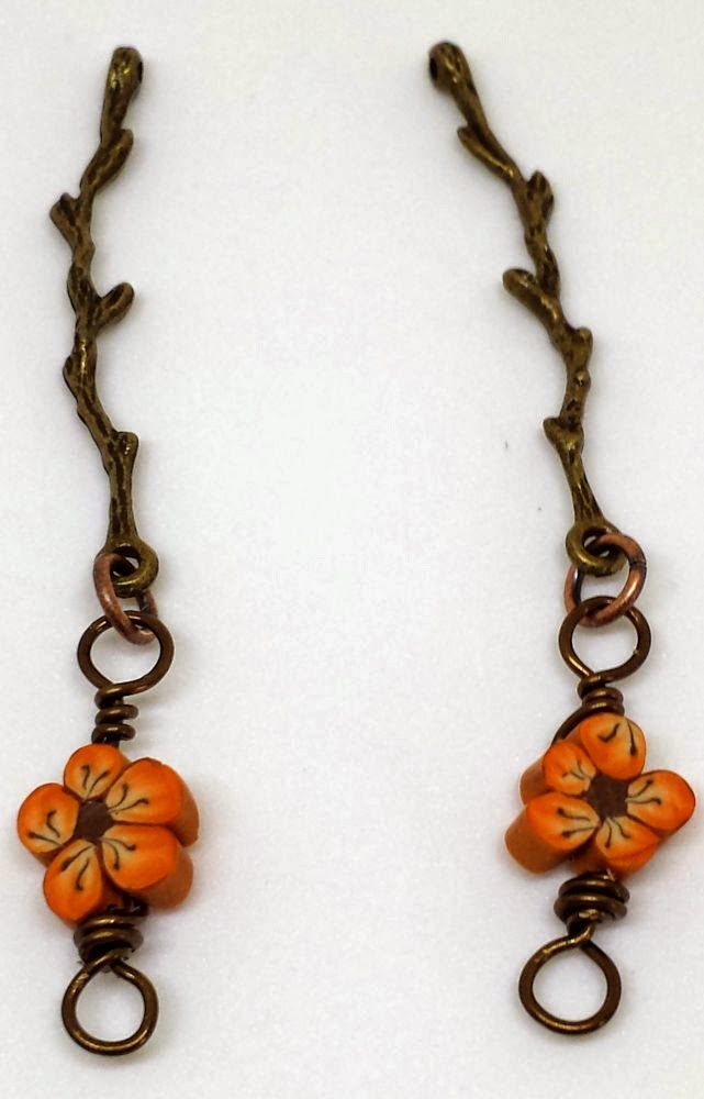 Beed Peeps Swap 'n Hop ~ flowers by Elaine Robataille, brass branch, wire wrapping, copper, ooak necklace :: All Pretty Things