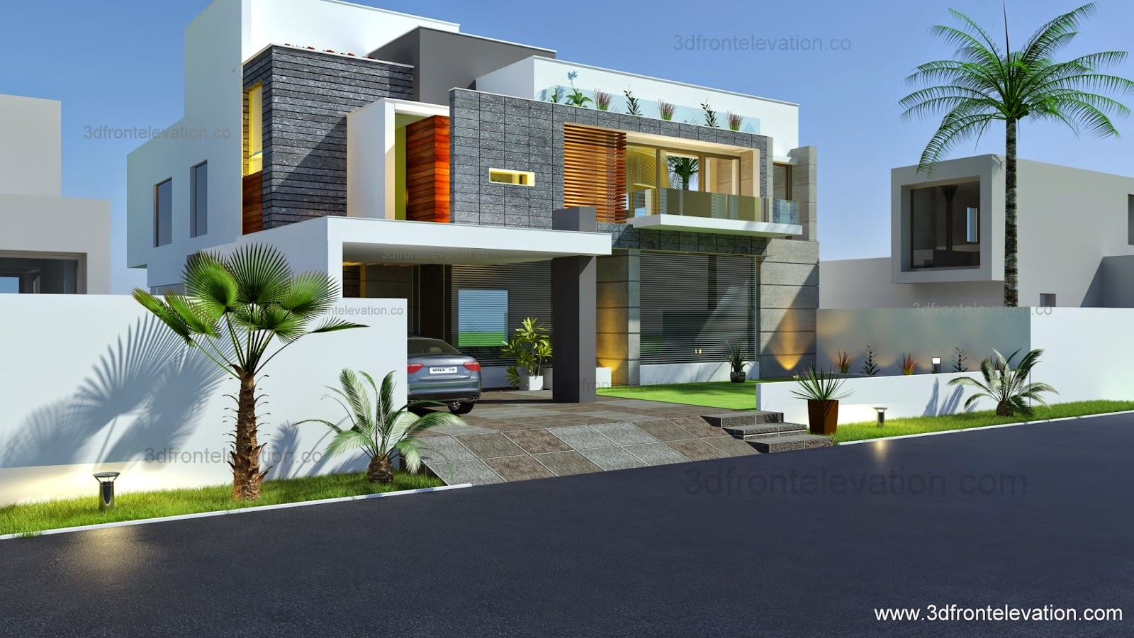 3d front beautiful modern contemporary for Modern house 49