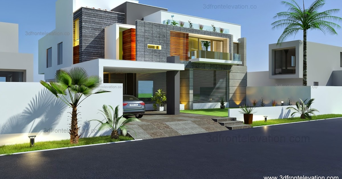 3d front beautiful modern contemporary for Modern house 6 part 10
