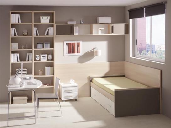 Dormitorio juvenil color moka que ahorra espacio
