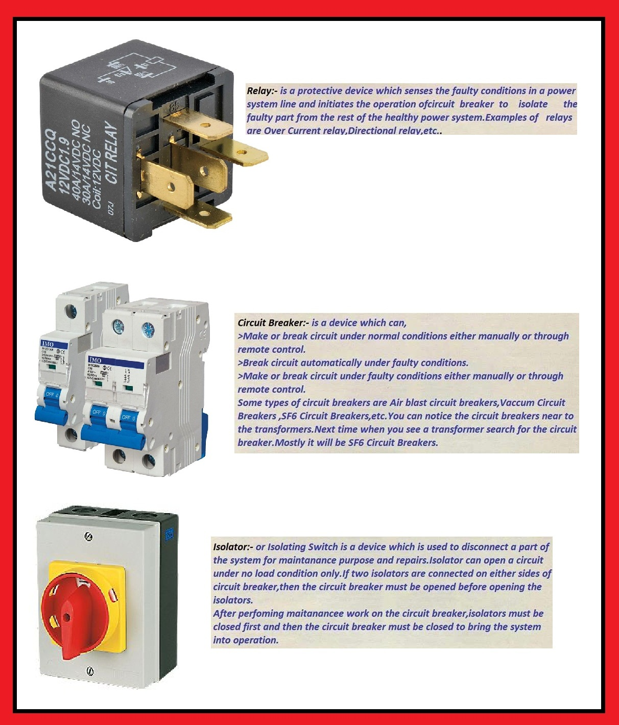 What is the difference between Relay Circuit Breaker and Isolator