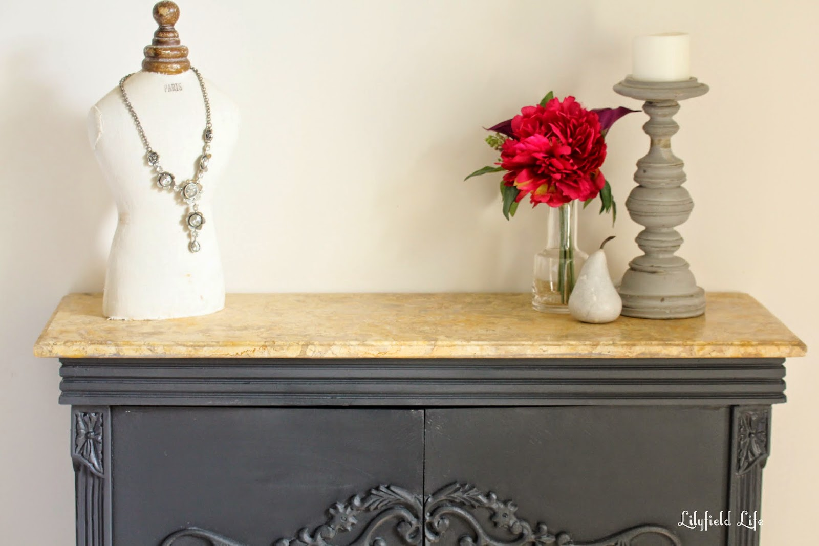 Elegant Graphite French Cabinet with Marble top