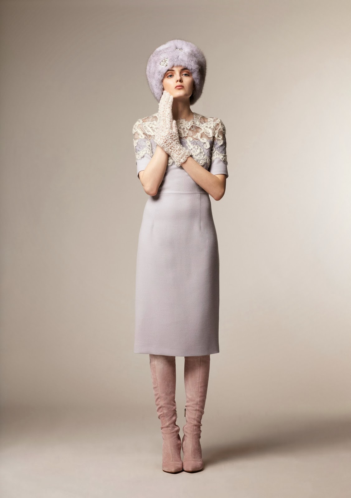 Lavender knee length modest dress with  1/2 sleeves