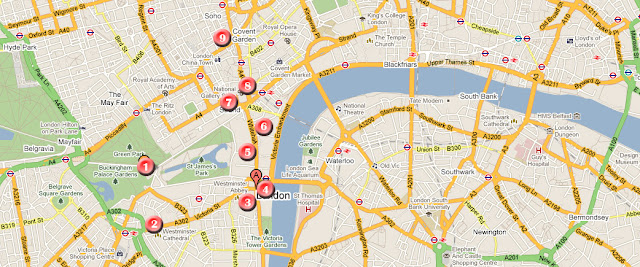 Mapa ruta por Londres dia 2
