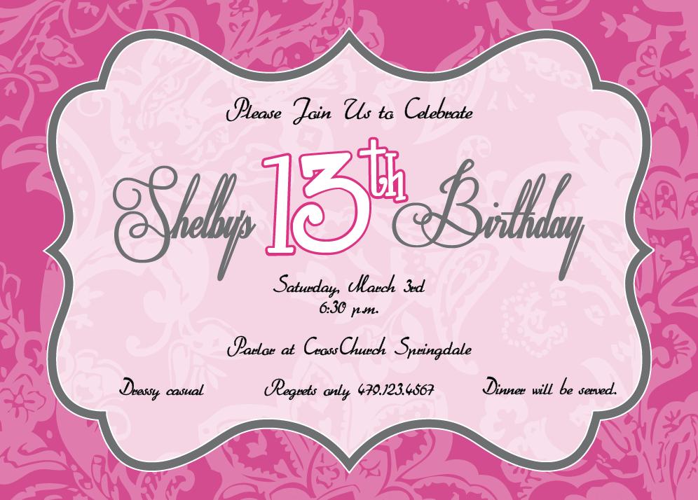 13Th Birthday Party Invitations wblqualcom