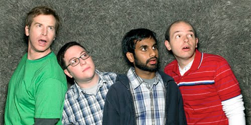 Rob Huebel, Jason Woliner, Aziz Ansari and Paul Scheer can't believe how boring my blog profile is.