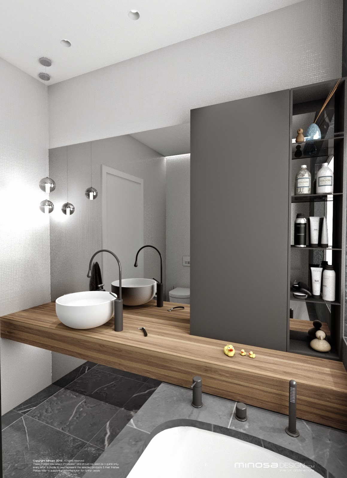 Minosa bathroom design small space feels large for Toilet and bath design small space