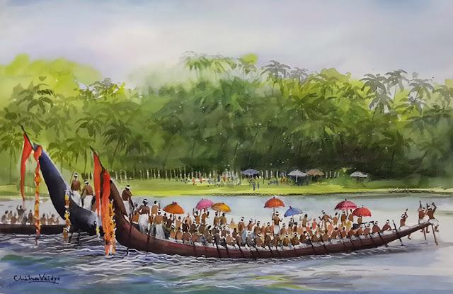 Boat Race, painting by Chitra Vaidya