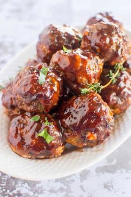 Crockpot Blueberry BBQ Meatballs from Crockpot Gourmet featured on SlowCookerFromScratch.com