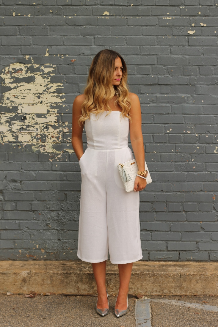 Culotte Jumpsuit With Metallic Pumps and white clutch