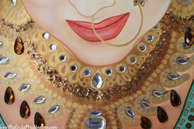 Sikh, Bride, Indian, Indian Bride, Mixed Media, Art, Artist, Artwork, Toronto Portrait Artist, Portrait, Painting, Portrait Painting, Beauty, Indian Bride, Gems, Canadian Artist, Malinda Prudhomme