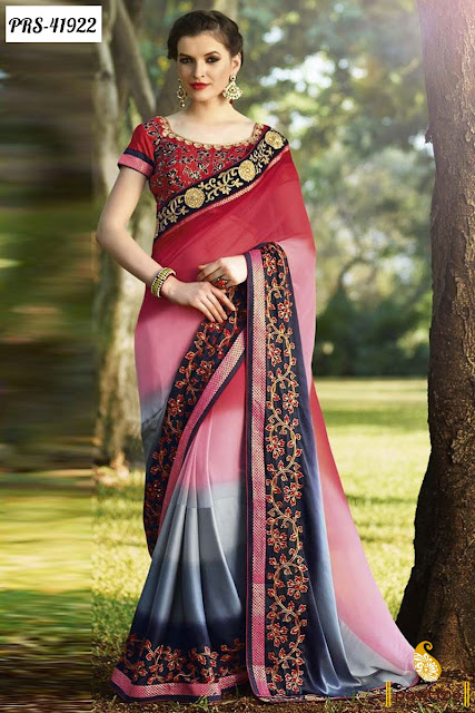 Karva Chauth red silk embroidery saree online shopping at pavitraa.in