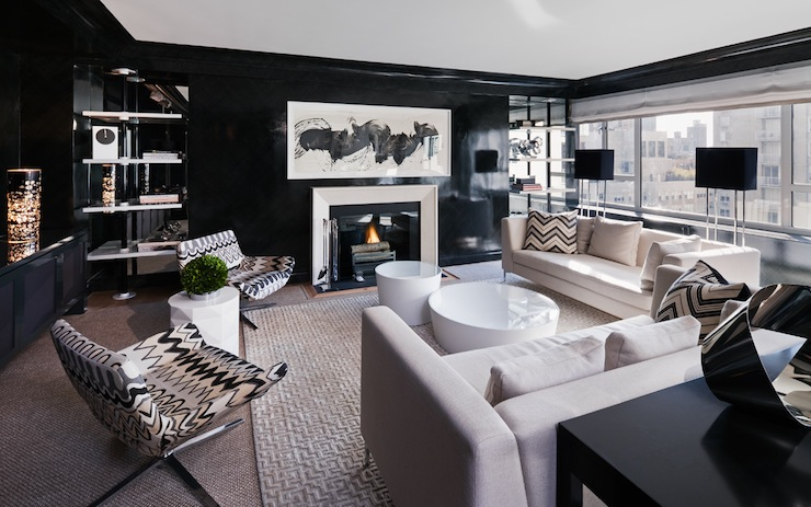 Black with White Walls Living Room