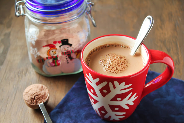 low-fructose hot cocoa mix, snowflake mug